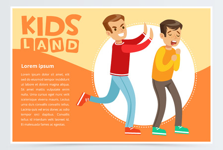 Teen aggressive boy bullying classmate, demonstration of school teenage bullying and aggression towards other child, kids land banner flat vector element for website or mobile app