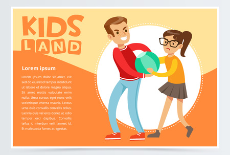 Boy bullying a girl, teen kids quarreling, aggressive behavior, kids land banner flat vector element for website or mobile app