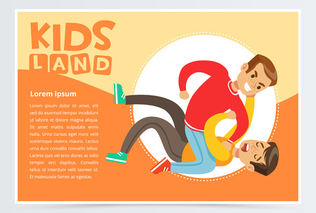 Teen boy lying on the floor being beaten by another boy, teenager kids quarreling, aggressive behavior, kids land banner flat vector element for website or mobile app Illustration