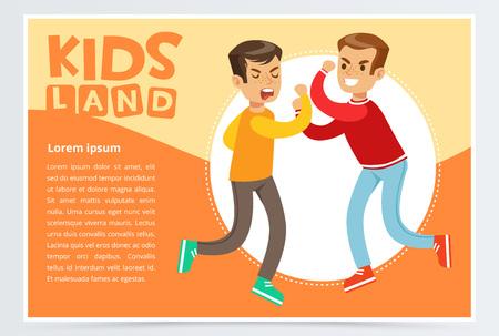 Two teen boys fighting each other, teenager kids quarreling, aggressive behavior, kids land banner flat vector element for website or mobile app
