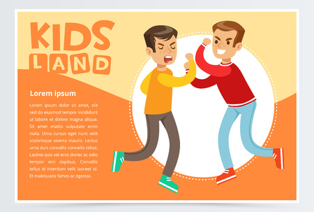 Two teen boys fighting each other, teenager kids quarreling, aggressive behavior, kids land banner flat vector element for website or mobile app