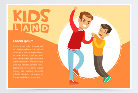 Little boy bullying by teenager, demonstration of school teenage bullying and aggression towards other child, kids land banner flat vector element for website or mobile app