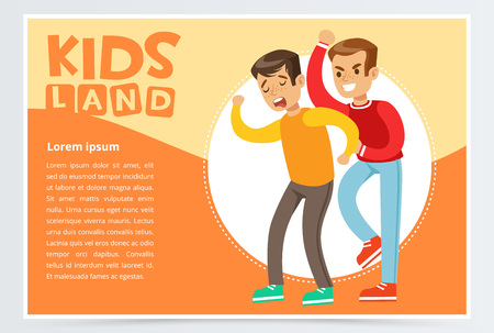 Teen boy beating by another, kid suffering from bullying, demonstration of school teenage aggression towards other child, kids land banner flat vector element for website or mobile app Ilustracja
