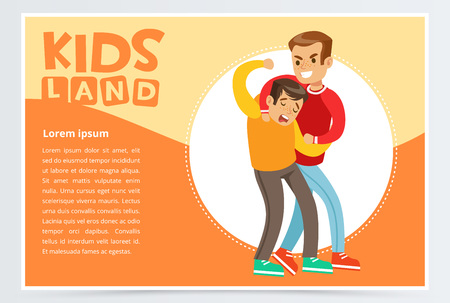 Boy beating by another, kid suffering from bullying, kids land banner flat vector element for website or mobile app 向量圖像