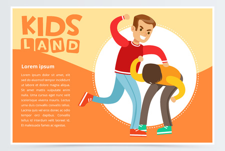 Teen boy beating by classmate, kid suffering from bullying, demonstration of school teenage aggression towards other child, kids land banner flat vector element for website or mobile app