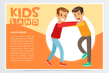 Two boys fighting each other, demonstration of school teenage bullying and aggression towards other child, kids land banner flat vector element for website or mobile app