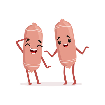 Two funny sausage characters having fun together. Meat friends isolated on white. Flat vector illustration design for menu, food market or butcher store Stock Illustratie