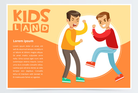 Two teen boys fighting each other, boy bullying classmate, aggressive behavior, kids land banner flat vector element for website or mobile app Illustration