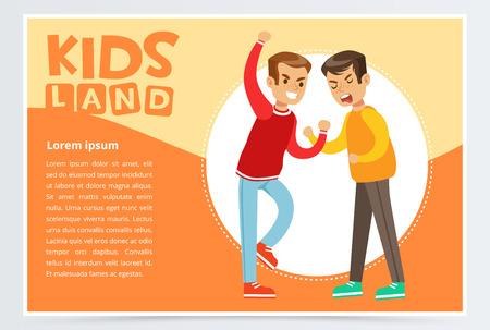 Two boys fighting each other, teen kids quarreling, aggressive behavior, kids land banner flat vector element for website or mobile app