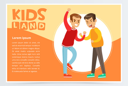 Two boys fighting each other, teen kids quarreling, aggressive behavior, kids land banner flat vector element for website or mobile app