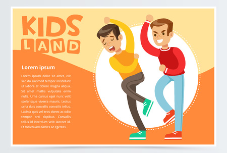 Aggressive boy bullying classmate, demonstration of school teenage bullying and aggression towards other child, kids land banner flat vector element for website or mobile app Illustration