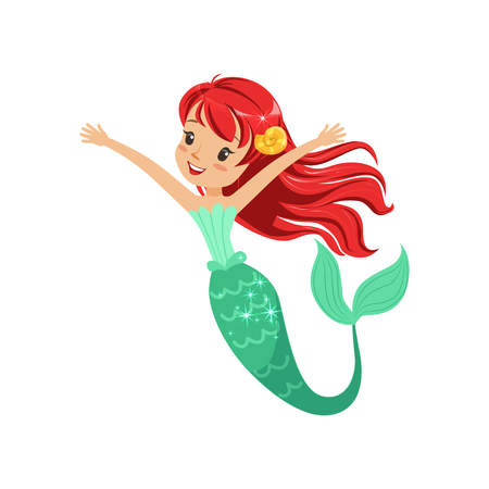 Cute red-haired mermaid girl isolated on white. Cartoon underwater character with shiny fish tail. Marine life concept. Flat design vector illustration Stock fotó - 90946110