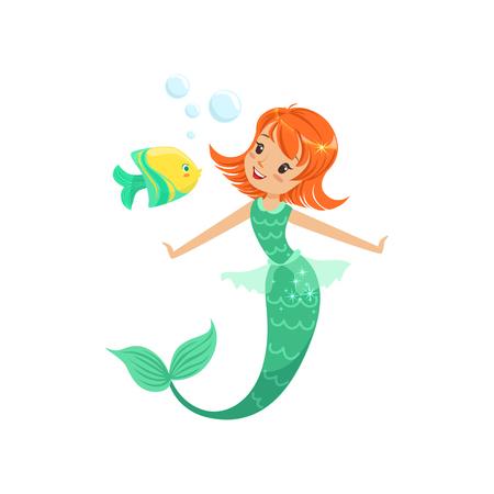 Sirena sonriente nadando bajo el agua con pequeños peces. Cuento de hadas princesa marina pelirroja con cola. Ilustración de vector plano aislado