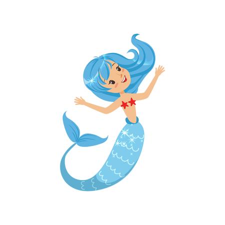 Mooie kleine zeemeermin uit onderwaterwereld. Beeldverhaal mythisch meisje met blauwe haar en vissenstaart. Zee- en oceaanthema. Platte vectorillustratie Stock Illustratie