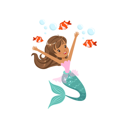Het gelukkige meerminmeisje zwemmen onderwater met kleine vissen. Fictief zeedier. Zee en oceaan leven concept. Geïsoleerde platte vectorillustratie