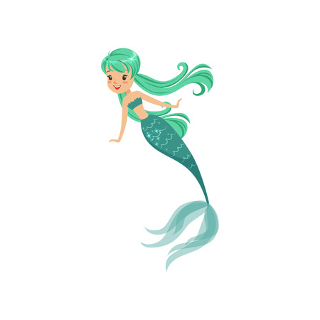 Cartoon mermaid girl character in flat style. Beautiful sea princess with long turquoise hair and shiny tail. Underwater life concept. Isolated vector illustration