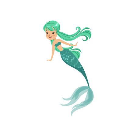Zeemeermin stripfiguur meisje in vlakke stijl. Prachtige zeeprinses met lang turquoise haar en glanzende staart. Onderwater leven concept. Geïsoleerde vector illustratie