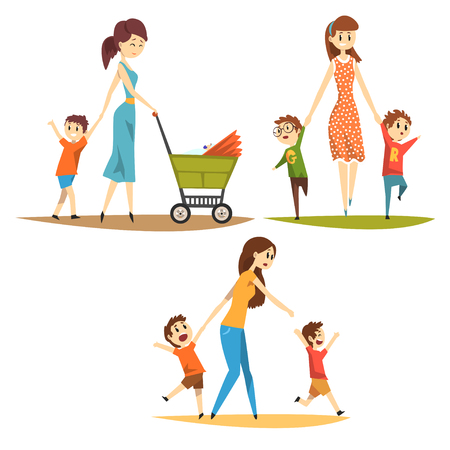 Cartoon character set of young mothers with kids. Pretty woman with newborn in baby carriage, preschool naughty boys. Motherhood concept. Flat vector illustration