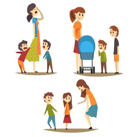 Vermoeide huisvrouw en luid gillende zonen, jonge moeder met kinderwagen en twee jongens naast haar, vrouw die een meisje uitschelden. Moederschap concept. Platte vectorillustratie Stock Illustratie