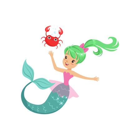 Glimlachend meerminmeisje die met vriendschappelijke krab zwemmen onderwater. Beeldverhaal mythisch zeeschepsel met groen glanzend haar en vissenstaart. Platte vectorillustratie
