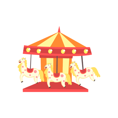 Colorful carnival carousel with horses. Funfair or amusement park icon. Entertainment element for family recreation. Flat vector design for poster, banner or flyer
