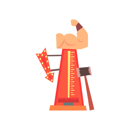 High striker attraction with big hammer, arrow with lights and muscular arm. Strength tester or strongman game. Amusement park. Flat vector for flyer or banner Stock Illustratie