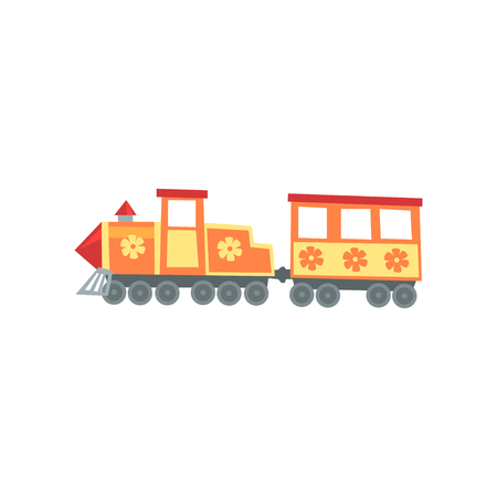 Mini train locomotive from funfair carnival. Amusement park icon. Cartoon entertainment element. Children attraction. Flat vector design for advertising poster or flyer.