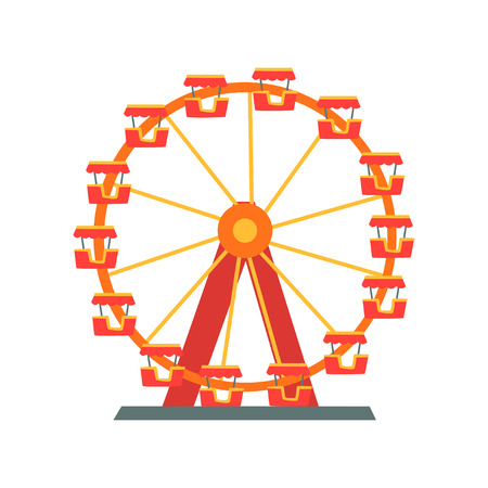 Colorful ferris wheel from amusement park. Entertainment element for family fun. Attraction symbol. Flat vector design for flyer, poster or banner Illustration