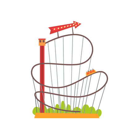 Roller coaster with railroad track and train based on lift tower. Amusement ride on carnival. Extreme attraction. Red arrow with lights. Flat vector design Illustration