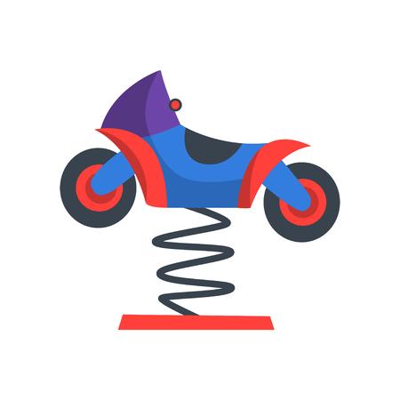 다채로운 락 오토바이 봄입니다. 아이들을위한 유원지의 매력. 놀이터 장비. 놀이 공원. 광고 전단지를위한 평면 벡터 디자인