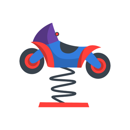 Colorful rocking motorcycle on spring. Funfair attraction for children. Playground equipment. Amusement park. Flat vector design for advertisement flyer Illustration