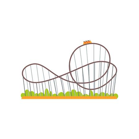 Pista sulle montagne russe con il treno. Attrazione estrema. Concetto di parco divertimenti per famiglie. Icona del design piatto colorato vettoriale per poster, banner o volantino Archivio Fotografico - 91007391