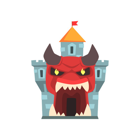 Tower of terror or horror fortress. Entrance to castle in form of giant red monster face with horns and big teeth. Family attraction. Flat vector for poster, banner or flyer