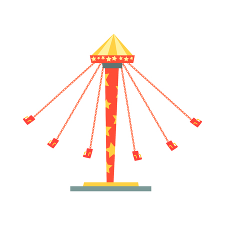 Swinging carousel with seats on chains. Entertainment and family recreation. Amusement park or funfair element. Flat vector design for invitation card.