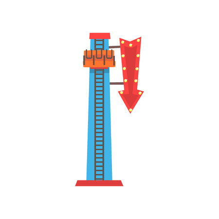 Cartoon illustration of free fall or drop tower. Extreme attraction. Amusement park icon. Funfair or carnival. Flat vector design for advertising poster, banner or flyer