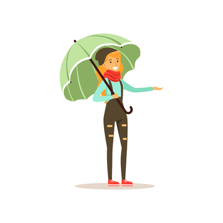 Beautiful woman wearing warm clothes standing under umbrella flat vector illustration Çizim