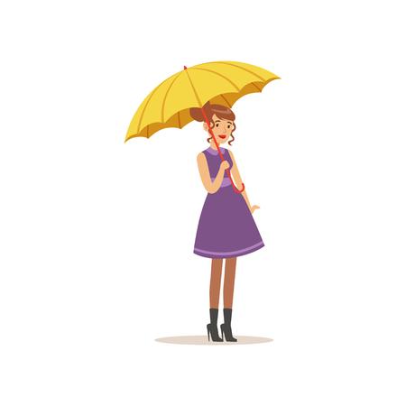 노란색 우산 평면 벡터 일러스트와 함께 서 보라색 드레스에 아름 다운 젊은 여자 일러스트