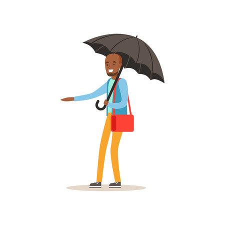 African american man standing with open black umbrella catching a car, flat vector illustration