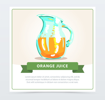 Hand drawn card with glass jug of healthy orange juice. Fresh natural drink concept. Colorful cartoon vector illustration with place for text Иллюстрация