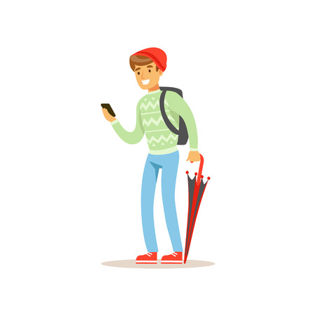 Smiling man standing with phone and folded umbrella flat vector illustration