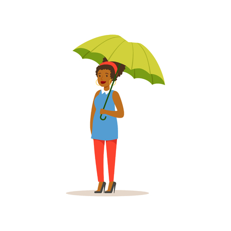 African american girl standing with open green umbrella catching a car, flat vector illustration Çizim