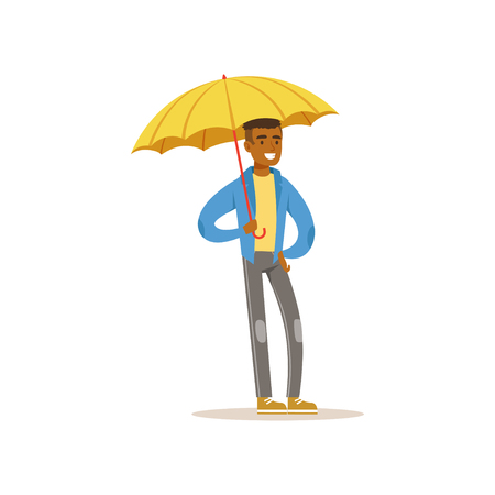 African american man standing with open yellow umbrella, flat vector illustration