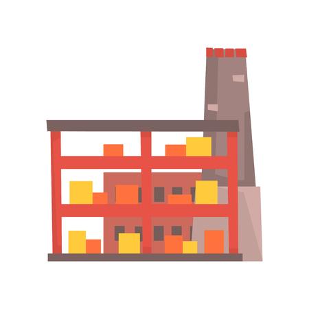 Industrial manufactury building vector illustration Illustration