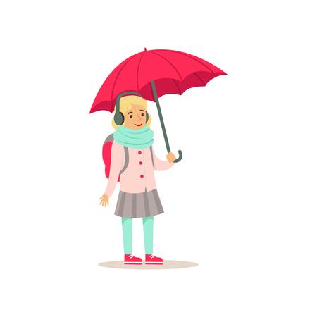 Muchacha encantadora de la escuela con la situación de la mochila con el ejemplo plano del vector del paraguas rosado Foto de archivo - 91007079