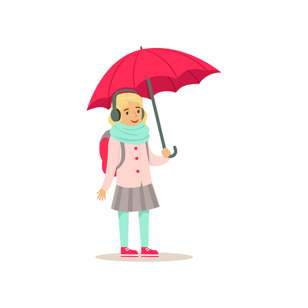 Lovely school girl with backpack standing with pink umbrella flat vector illustration