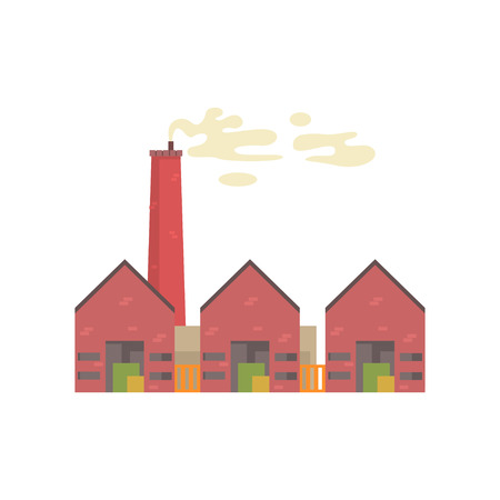 Industrial manufactory building with hangars vector illustration