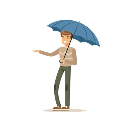 파란 우산 평면 벡터 일러스트 레이션 아래 서있는 사람 일러스트