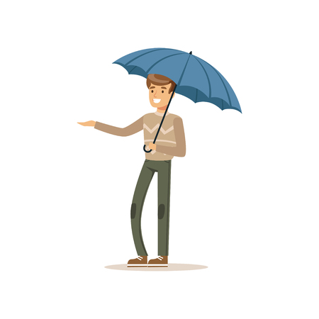 Man standing under blue umbrella flat vector illustration