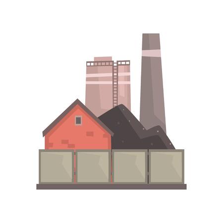 Coal burning power plant, industrial manufactury building vector illustration Illustration