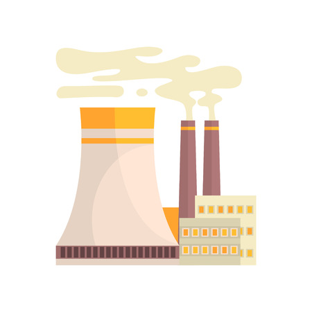Thermal power station, industrial manufactury building vector illustration Illustration